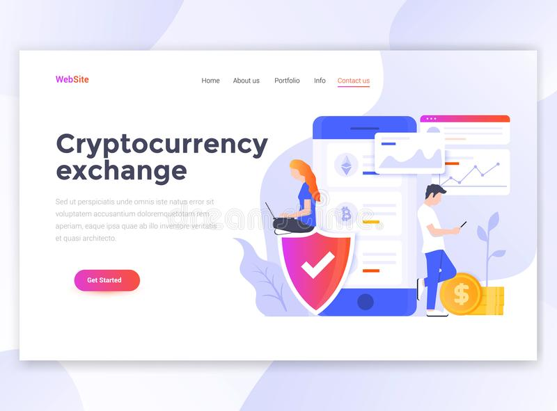 Diseño moderno plano de plantilla del wesite - intercambio de Cryptocurrency stock de ilustración