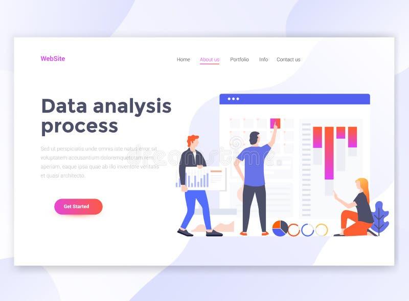 Diseño moderno plano de plantilla del wesite - proceso del análisis de datos stock de ilustración