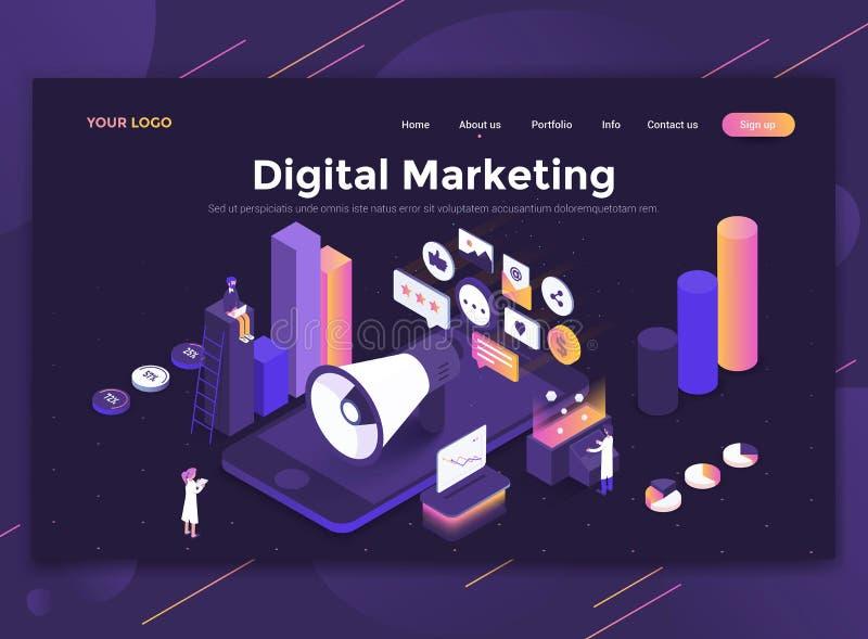 Diseño moderno plano de plantilla de la página web - márketing de Digitaces stock de ilustración