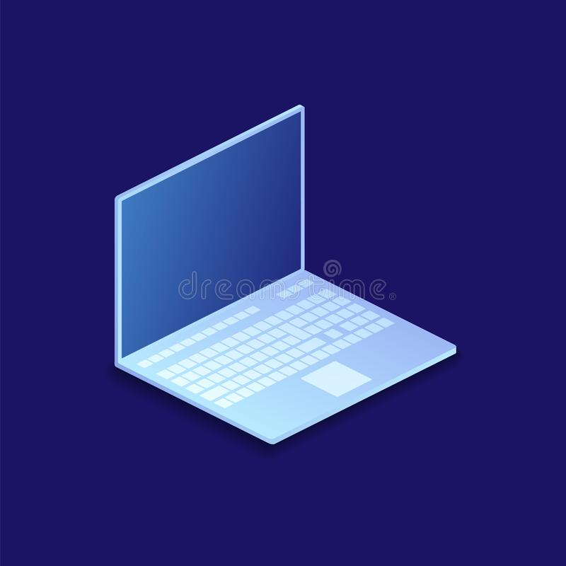 Diseño moderno plano isométrico Ejemplo del ordenador portátil ilustración del vector