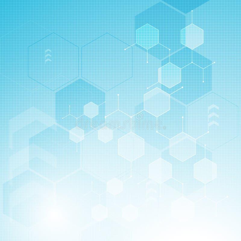 Diseño molecular limpio de la estructura del hexágono de la atención sanitaria de la innovación del fondo abstracto del concepto libre illustration