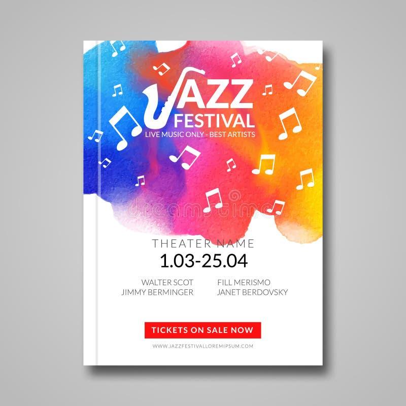 Diseño musical del cartel del vector Fondo de la mancha de la acuarela Jazz, plantilla de la cartelera del estilo de la roca para stock de ilustración