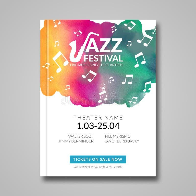 Diseño musical del cartel del vector Fondo de la mancha de la acuarela Jazz, plantilla de la cartelera del estilo de la roca para ilustración del vector