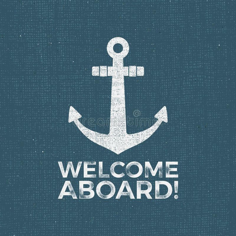 Diseño náutico Emblema del vector del marinero Ancle la etiqueta e imprima el diseño con el símbolo del ancla, insignia de la tip ilustración del vector
