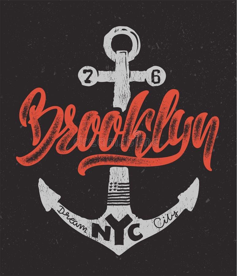 Diseño náutico, mano que dibuja la impresión de la camiseta de Brooklyn stock de ilustración