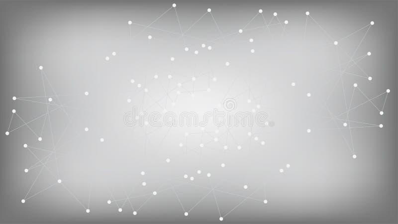 Diseño nano poligonal de la tecnología de la red de Blockchain Vector futurista de los nodos de red de la inteligencia artificial stock de ilustración