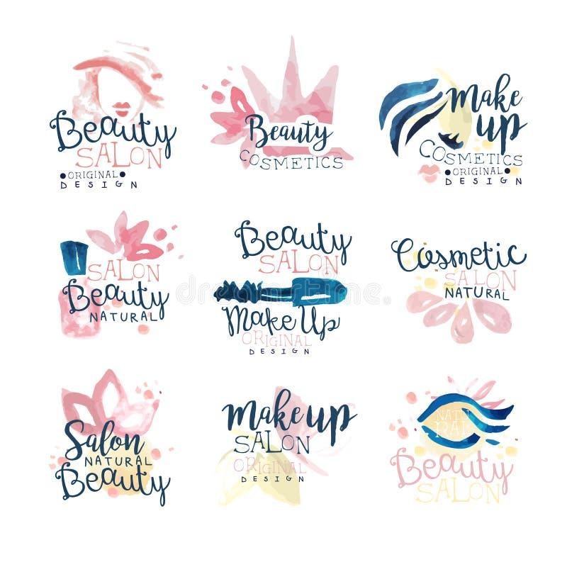 Diseño natural del logotipo del salón de la belleza, sistema de ejemplos dibujados mano colorida de la acuarela stock de ilustración