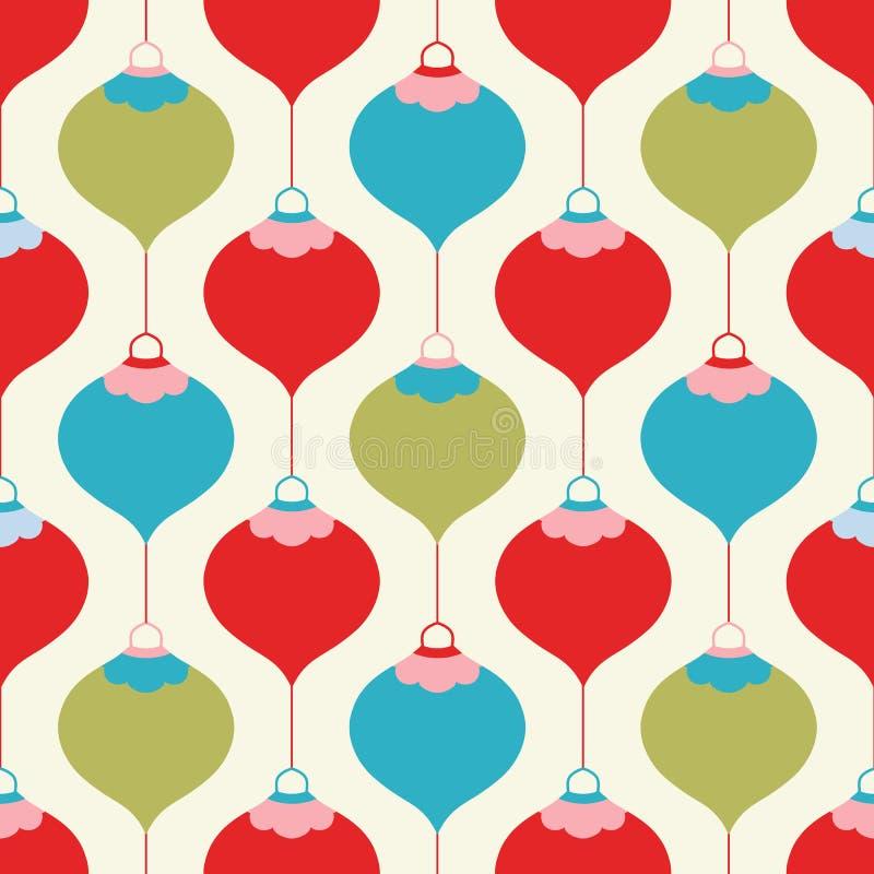 Diseño navideño bauble en rojo, verde y turquesa. Ilustración geométrica vectorial sin problemas ilustración del vector