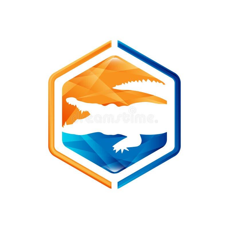 Diseño negativo del estilo del espacio de los animales Vector negativo del logotipo del estilo del cocodrilo stock de ilustración
