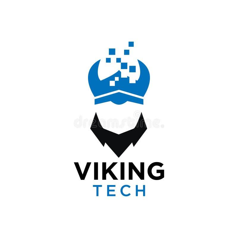 Diseño negativo del logotipo del espacio de la tecnología simple de vikingo libre illustration
