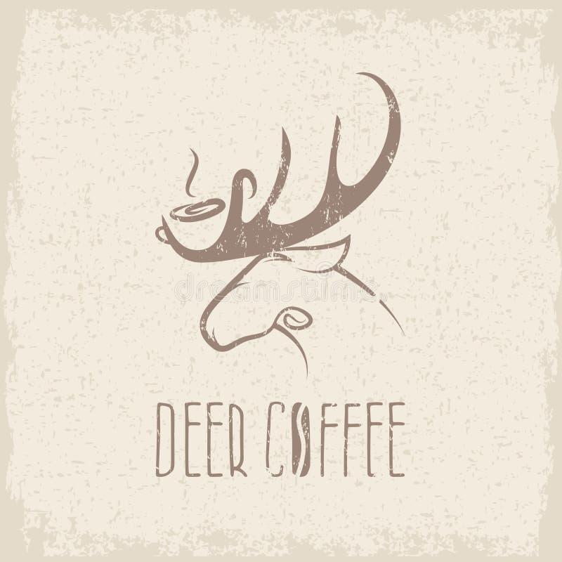 Diseño negativo del vector del grunge del concepto del espacio del café de los ciervos ilustración del vector