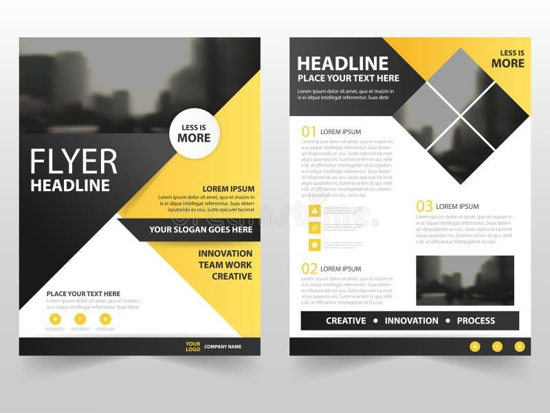 Diseño negro amarillo de la plantilla del informe anual del aviador del prospecto del folleto del negocio del triángulo, diseño d ilustración del vector