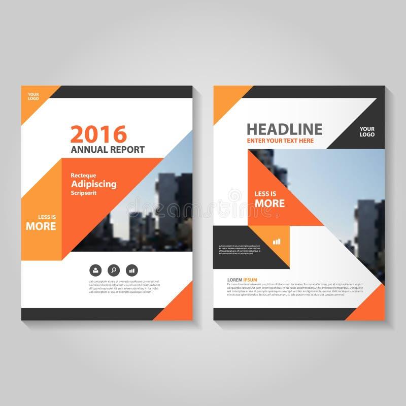 Diseño negro anaranjado abstracto de la plantilla del aviador del folleto del prospecto del informe anual, diseño de la disposici stock de ilustración