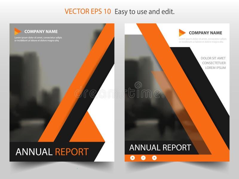Diseño negro anaranjado de la plantilla del aviador del folleto del prospecto del informe anual del vector, diseño de la disposic ilustración del vector