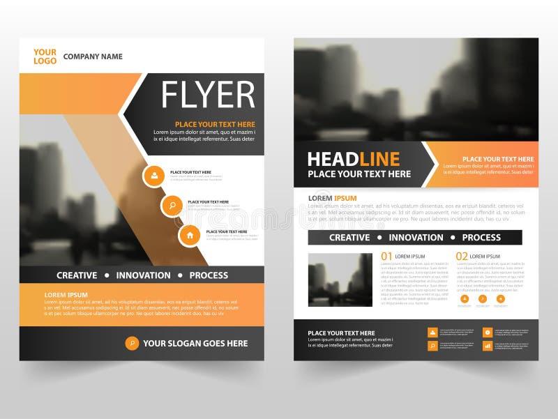 Diseño negro anaranjado de la plantilla del informe anual del aviador del prospecto del folleto del negocio, diseño de la disposi ilustración del vector