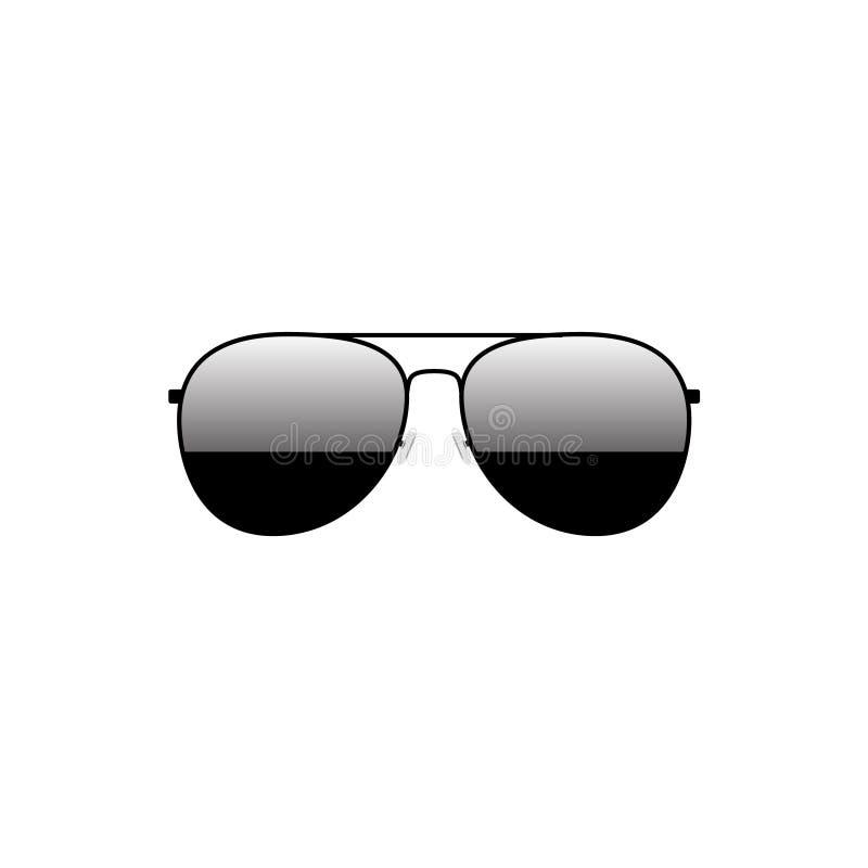 Diseño negro brillante de las gafas de sol tipo aviador stock de ilustración