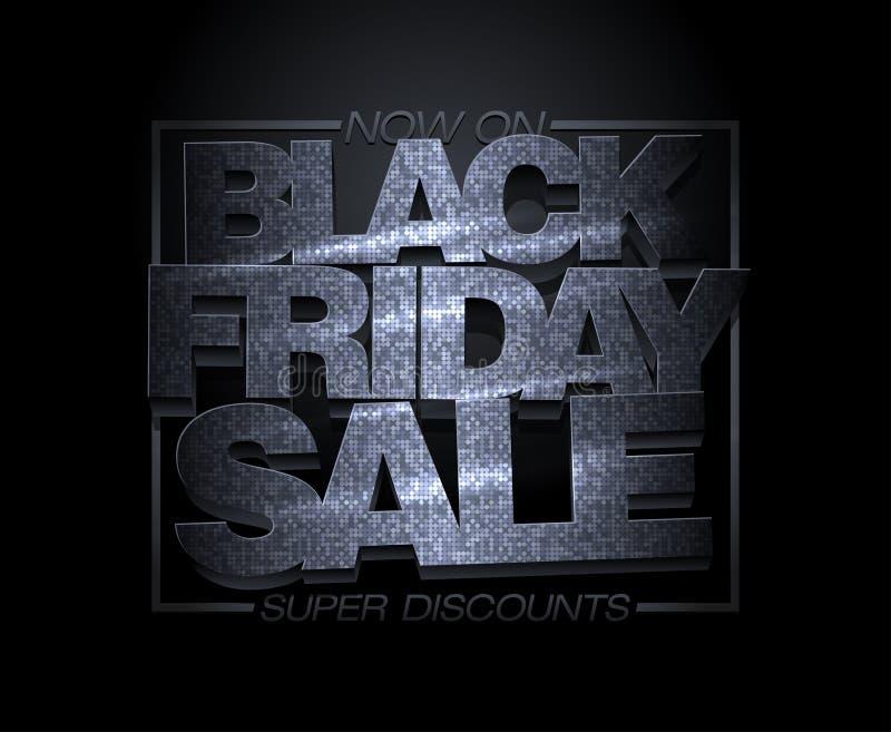 Diseño negro de la venta de viernes, descuentos estupendos, bandera de la liquidación del día de fiesta de la moda libre illustration