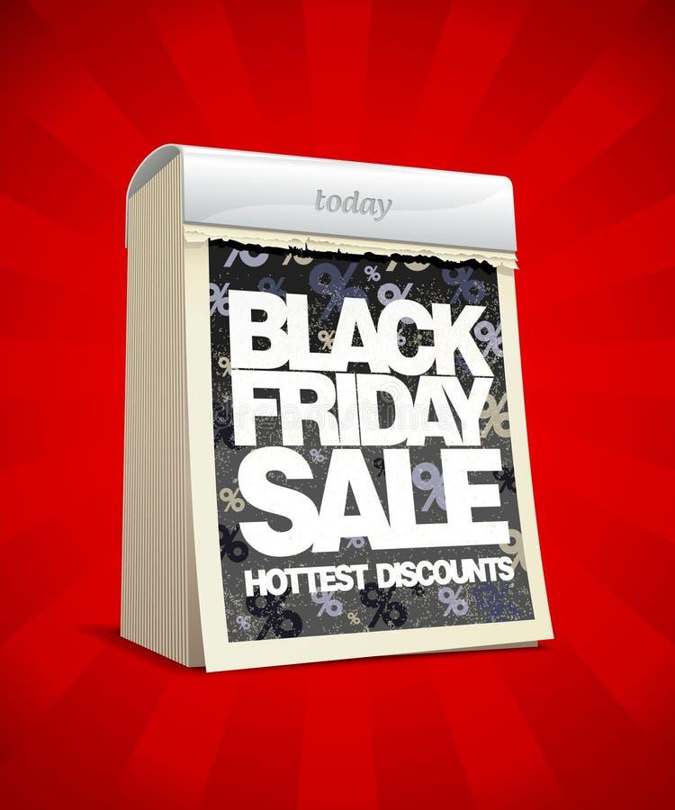 Diseño negro de la venta de viernes en la forma de calendario. ilustración del vector