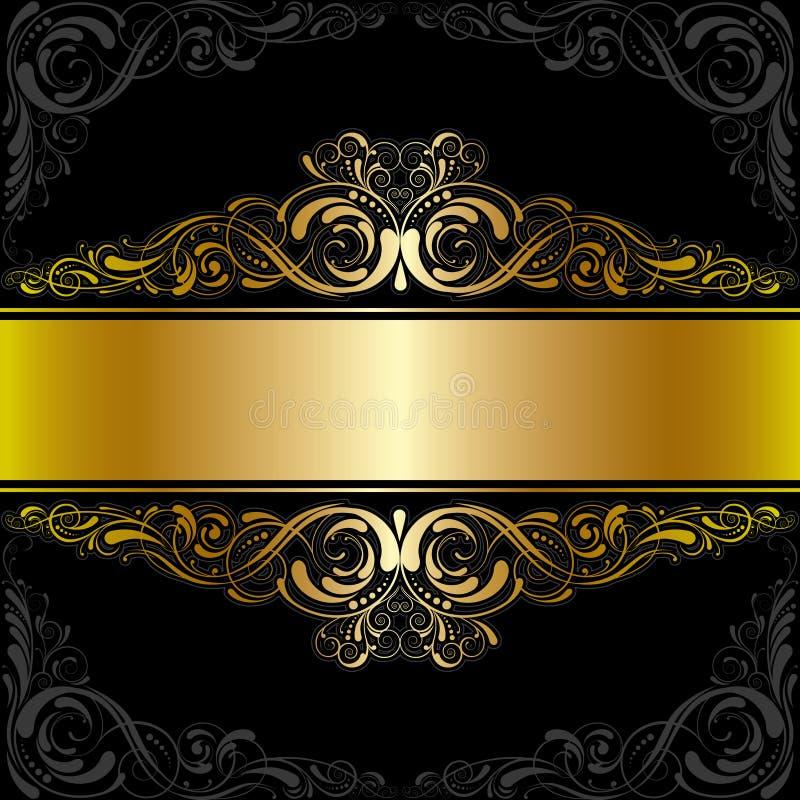 Diseño negro de oro de la etiqueta ilustración del vector