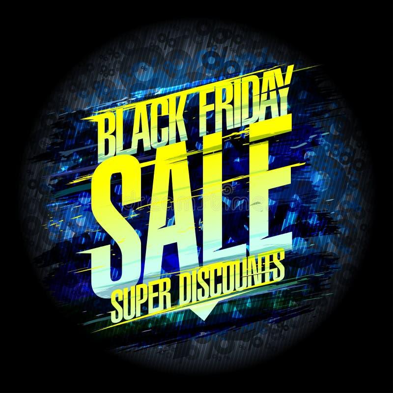 Diseño negro del cartel de la venta de viernes, descuentos estupendos libre illustration