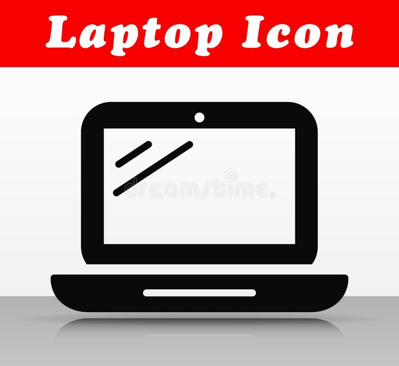 Diseño negro del icono del vector del ordenador portátil stock de ilustración