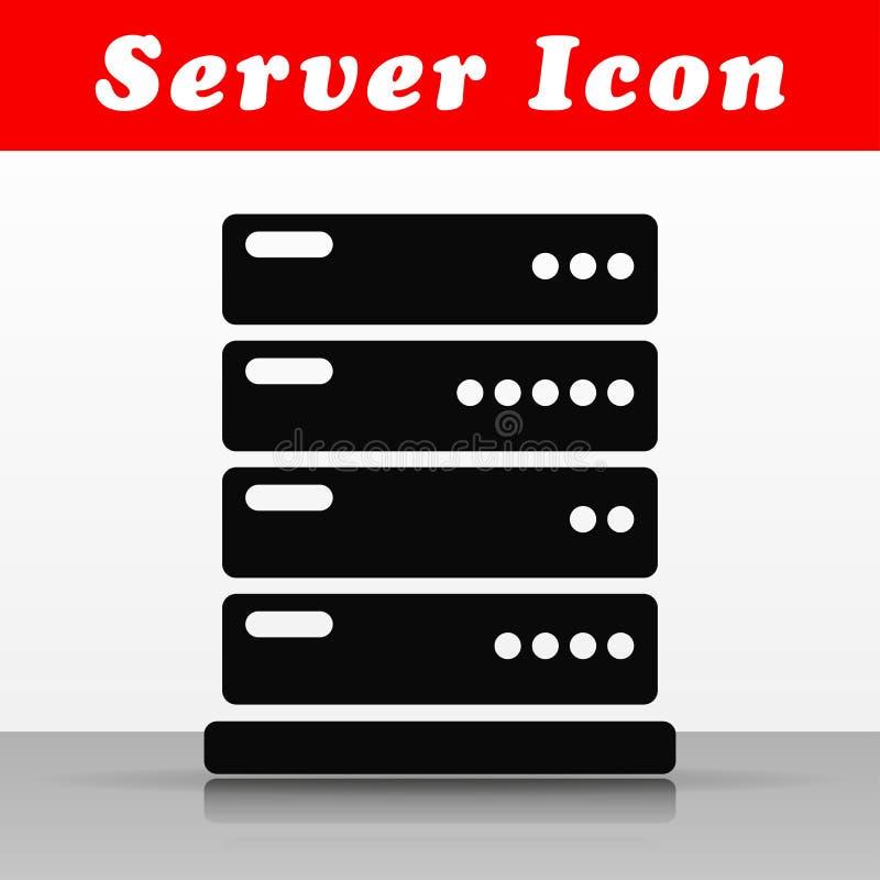 Diseño negro del icono del vector del servidor stock de ilustración