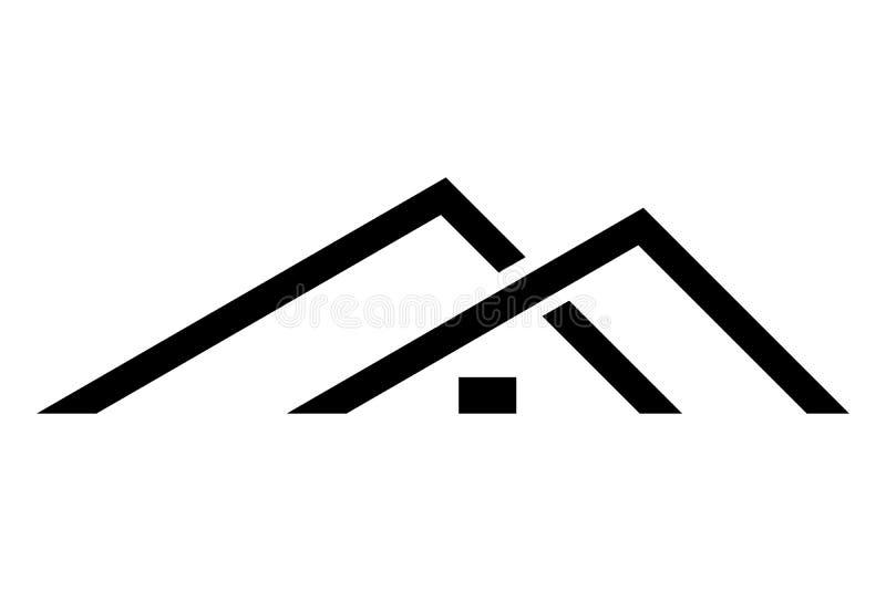Diseño negro del logotipo de la casa aislado en el fondo blanco, ejemplo del vector stock de ilustración