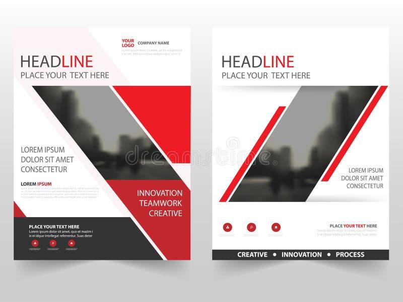 Diseño negro rojo de la plantilla del informe anual del aviador del prospecto del folleto del negocio, diseño de la disposición d libre illustration