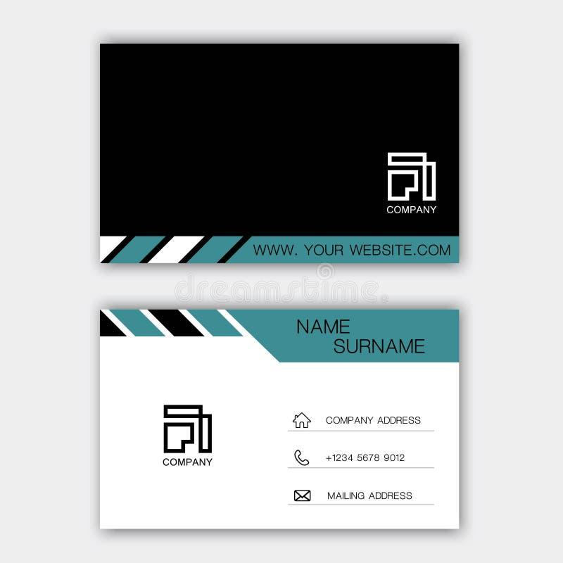 Diseño negro y azul de la tarjeta de visita en el fondo gris ilustración del vector