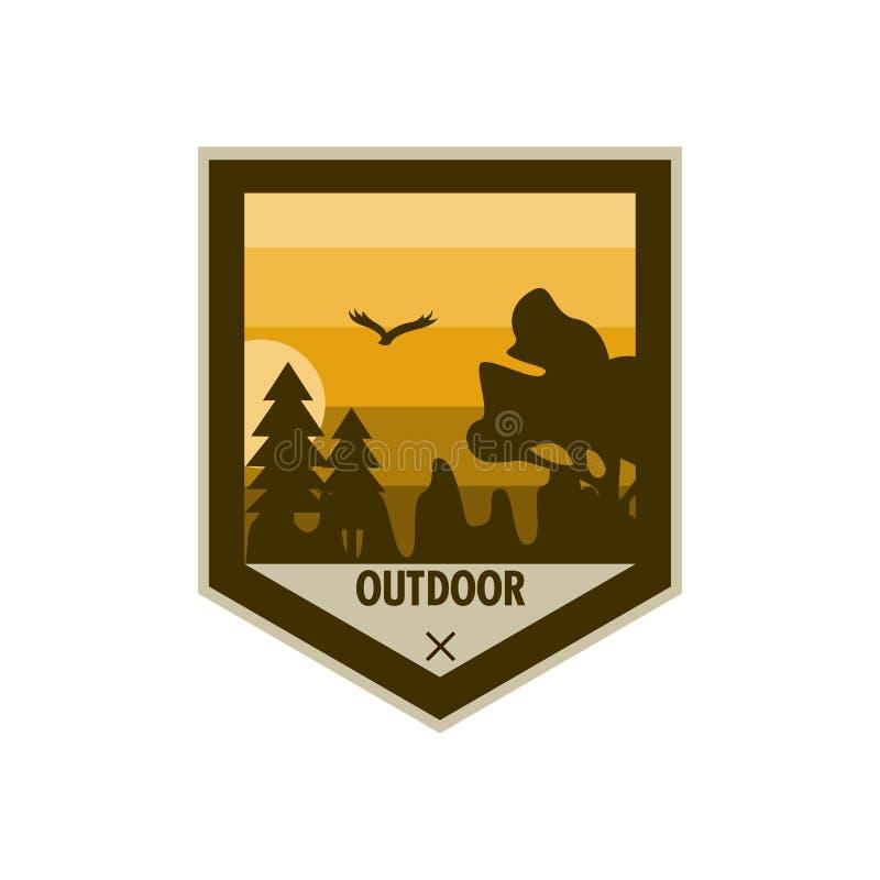 Diseño nervioso al aire libre de la insignia de la aventura del escudo ilustración del vector