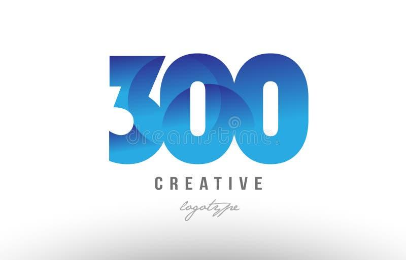diseño numérico del icono del logotipo del dígito del número de la pendiente de 300 azules ilustración del vector