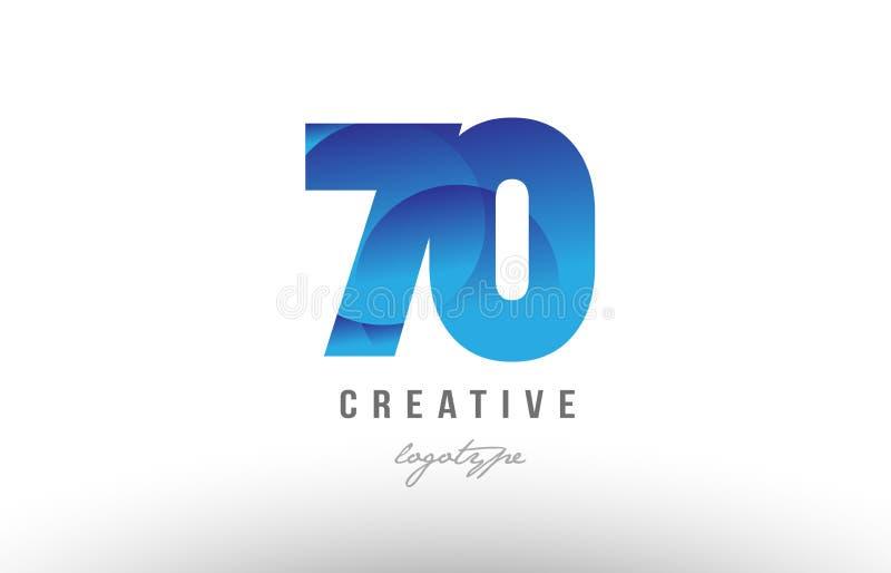 diseño numérico del icono del logotipo del dígito del número de la pendiente de 70 azules ilustración del vector
