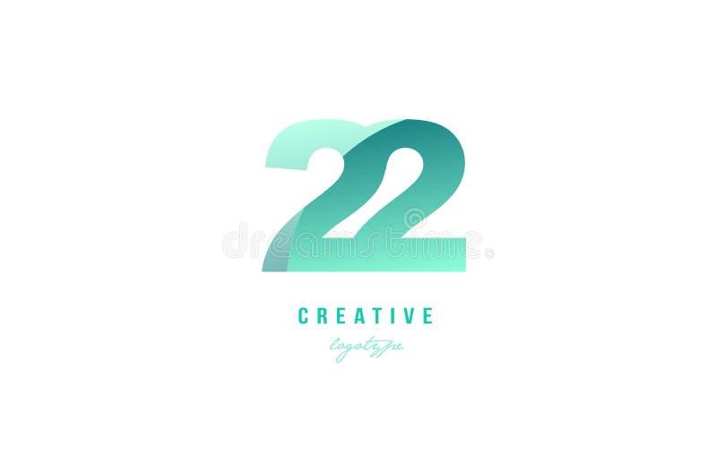 diseño numérico del icono del logotipo del dígito del número en colores pastel verde de la pendiente 22 ilustración del vector