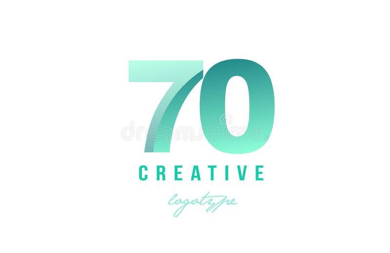 diseño numérico del icono del logotipo del dígito del número en colores pastel verde de la pendiente 70 stock de ilustración