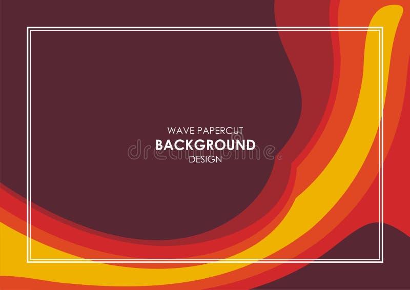 Diseño ondulado abstracto amarillo, rojo y marrón del corte del papel ilustración del vector