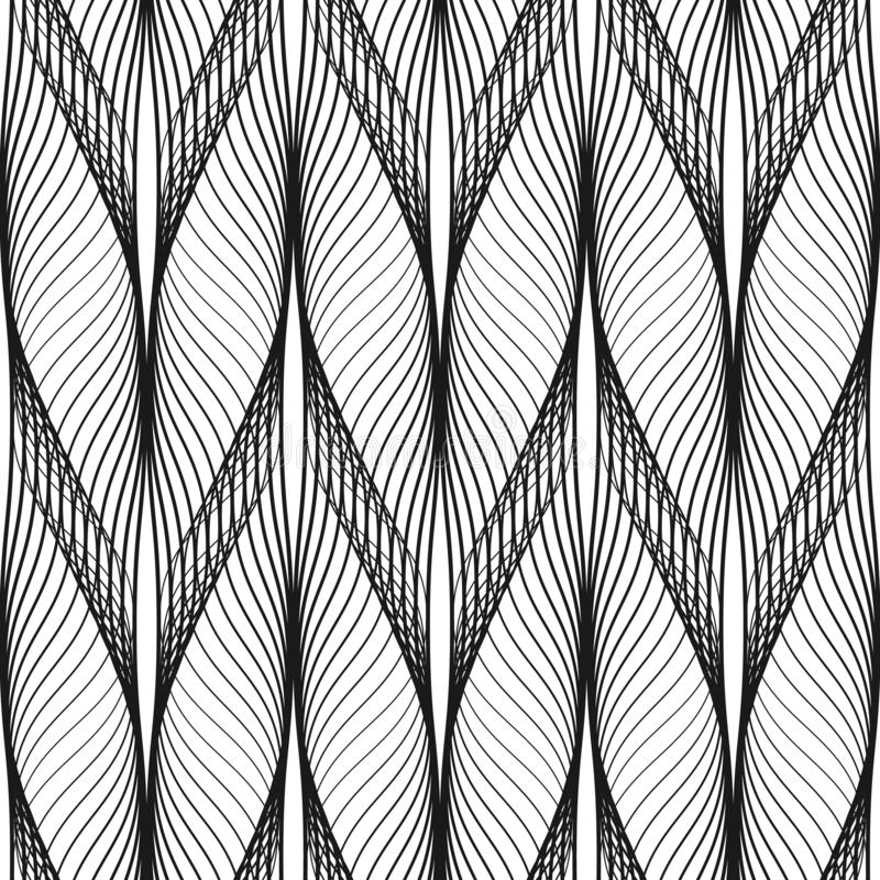 Diseño ondulado del modelo inconsútil abstracto Línea negra en estilo moderno en el fondo blanco libre illustration