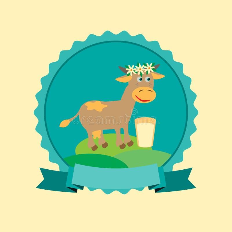 Diseño orgánico de la etiqueta de la leche con la vaca linda en leche Ilustración del vector libre illustration