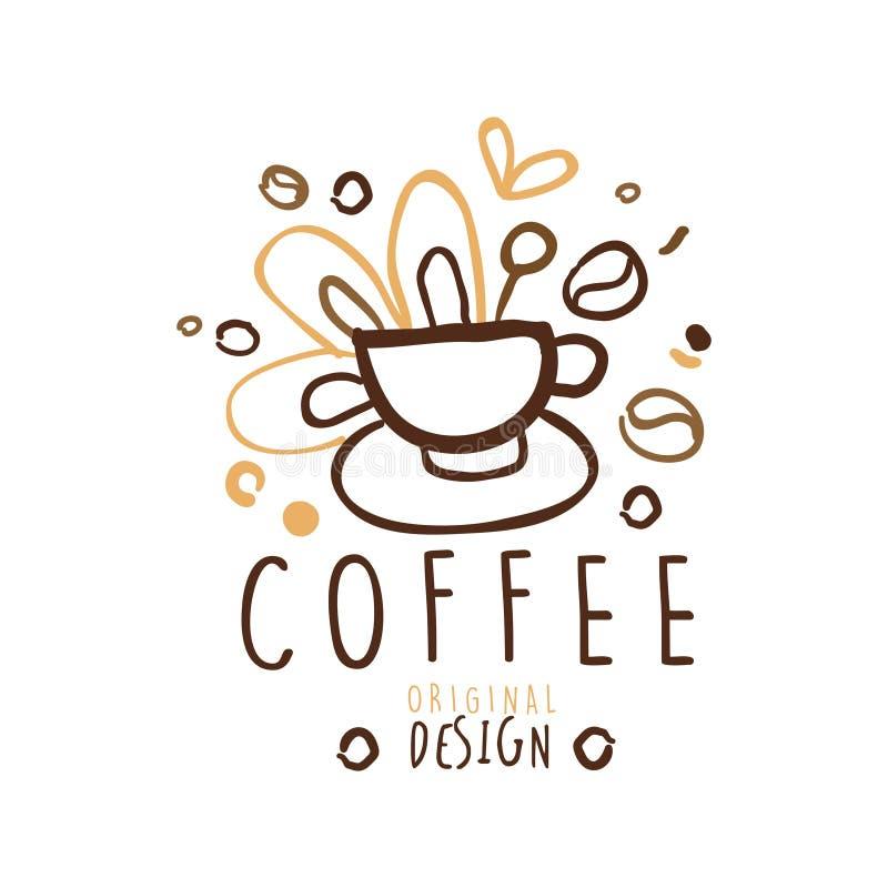 Diseño original de la etiqueta del café, ejemplo dibujado mano del vector en colores marrones stock de ilustración