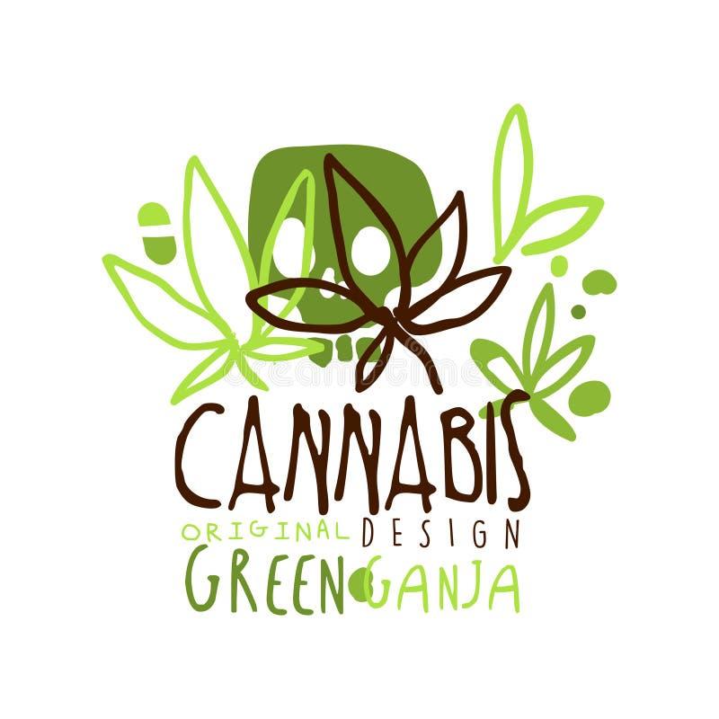 Diseño original de la etiqueta verde del ganja del cáñamo, plantilla del gráfico del logotipo stock de ilustración