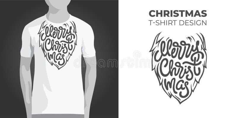 Diseño original de la impresión para la camiseta con la barba de Papá Noel y la tipografía de la Feliz Navidad Ejemplo del vector ilustración del vector