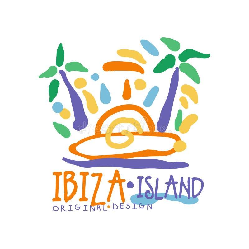 Diseño original de la plantilla del logotipo de la isla de Ibiza, insignia exótica de las vacaciones de verano, etiqueta para una libre illustration