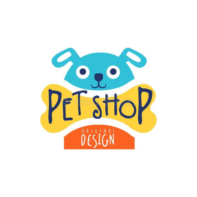 Diseño original de la plantilla del logotipo de la tienda de animales, ejemplo dibujado mano colorida del vector stock de ilustración
