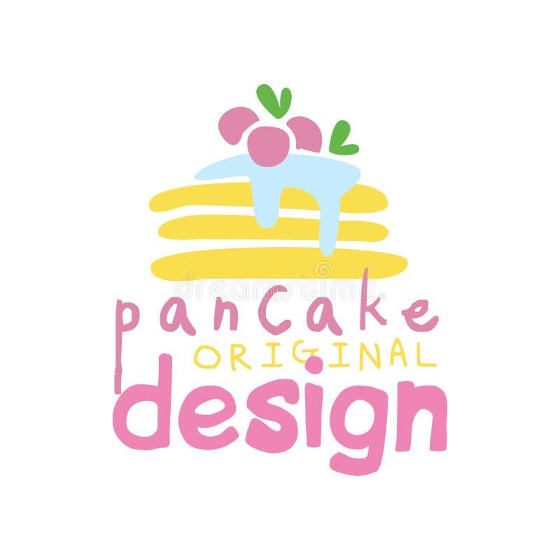 Diseño original del logotipo de la crepe, emblema para la confitería, tienda del caramelo, restaurante, barra, café, menú, vector libre illustration