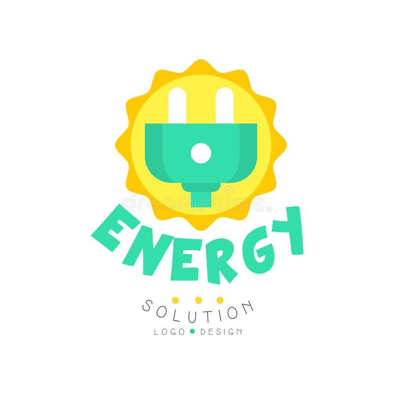 Diseño original del logotipo de la solución verde de la energía con el enchufe eléctrico para el negocio o la compañía respetuoso libre illustration