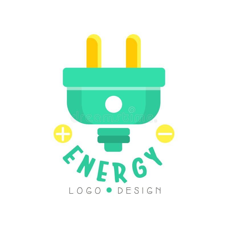 Diseño original plano del logotipo con el enchufe eléctrico Concepto de Eco para el negocio respetuoso del medio ambiente o las t stock de ilustración