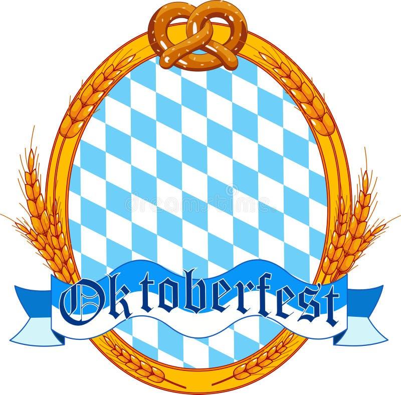 Diseño oval de la escritura de la etiqueta de Oktoberfest stock de ilustración