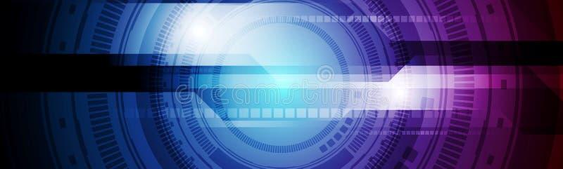 Diseño púrpura azul de la bandera de la tecnología del engranaje de HUD ilustración del vector