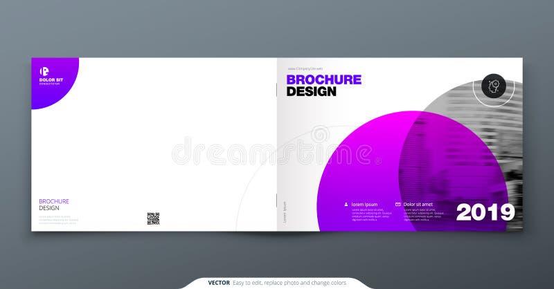 Diseño púrpura del folleto Plantilla de la cubierta horizontal para el folleto, informe, catálogo, revista Disposición con el cír stock de ilustración