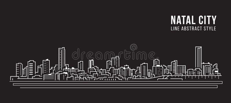 Diseño panorámico de Cityscape Building Line Art Vector Ilustración - Ciudad natal stock de ilustración