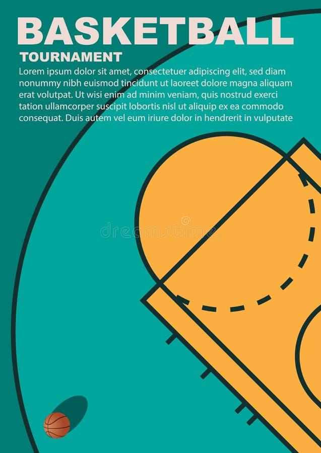 Diseño para el baloncesto Cartel para el torneo fotografía de archivo